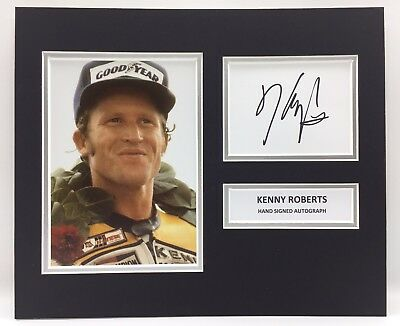 RARE Kenny Roberts Moto GP Signed Photo Display + COA AUTOGRAPH ROSSI MOTOGP WSB