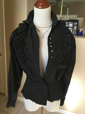 Mid-century Parkland Of Dallas Sparkling Rhinestone Buttons Blouse Black