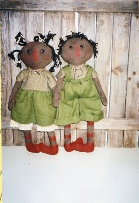 Pattern-Primitive Black Raggedys-Forever Friends-Sweet! Ragg Bagg Babys
