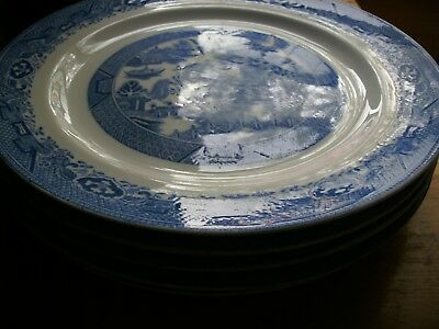 """5 Antique BLUE WILLOW  9 1/4  """"  DINNER Plates  Royal Grafton China ENGLAND"""