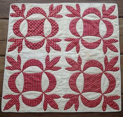 EARLY Civil War Era Turkey Red Antique Applique Table Crib QUILT 26x27