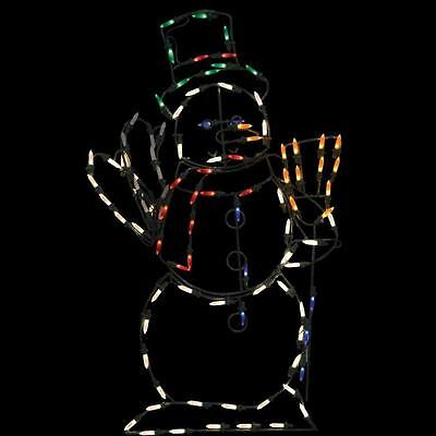 Outdoor Christmas 32 Inch LED Waving Snowman Yard Art with 100 LED Lights