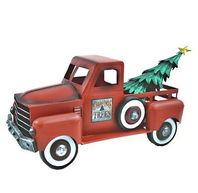 Antique Red Truck with Removable Christmas Tree READ DENTS OR DINGS