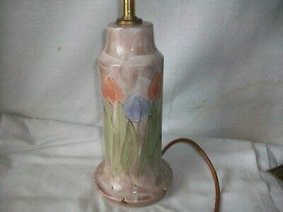 Beautiful Handpainted Jersey Studio Pottery Lamp - Tulip Pattern.