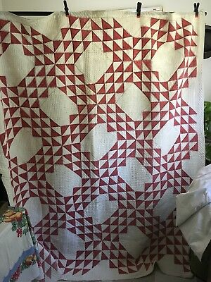 Antique Red And White Ocean Waves Quilt