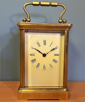Vintage French Brass 8 Day Carriage Clock, Working order