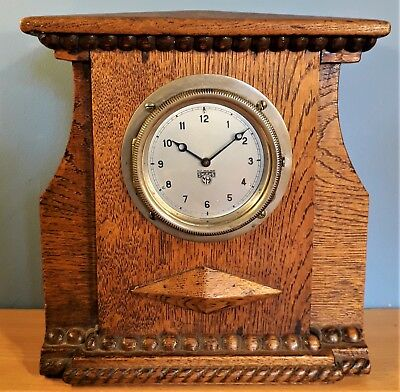 Vintage Smith MA Wind Up Car Dashboard Clock, In Arts & Crafts Style Oak Case