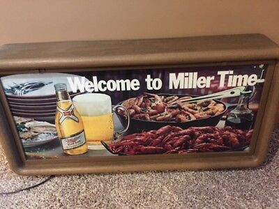 Vintage Miller High Life Beer Lighted Sign 1980's It's Miller Time rare