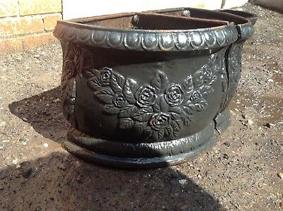 2 corner, rare, cast iron, decorative, planters, trough, metal.