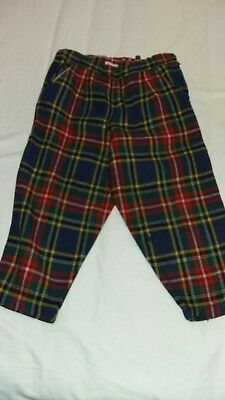 Vintage childrens clothes 1950s tartan wool trousers Age 18-24 month