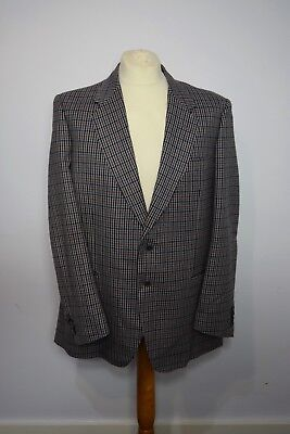 VINTAGE MENS LANVIN PARIS GREY CHECK WOOL BLAZER JACKET SAVOY TAILORS GUILD 44in