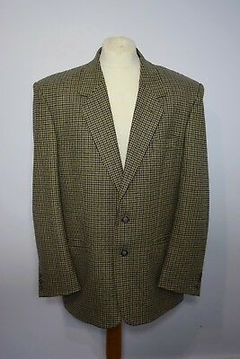 Vintage Mens Oakman Biege Blue Dog Tooth Blazer Jacket 44R