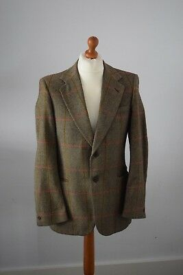 Vintage Mens Daks Simpson Herringbone Scotish Wool Blazer Jacket 38 R