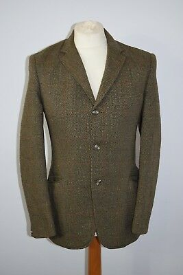 VINTAGE MENS JONES & DUNN BROWN HERRINGBONE WOOL BLAZER JACKET GALA FOREST 38in