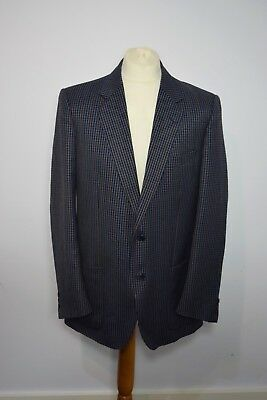 Vintage Mens Konen Savoy Tailors Guild Grey Blue Blazer Jacket Wool & Polyester