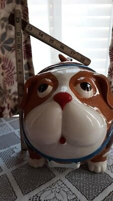 """Brown Spotted Dog Cookie Jar, used, no box, 1 small chip on lid, 8-1/2"""" tall"""