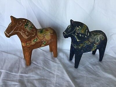 2 Vintage Swedish Dala Horses - Hand Carved And Painted