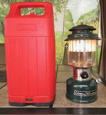 Vintage Coleman Camping Lantern 290-700 Powerhouse with Red Case Extras 1987