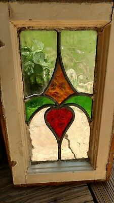 Vintage Stained Glass Window, Shabby Chic, Farmhouse Style