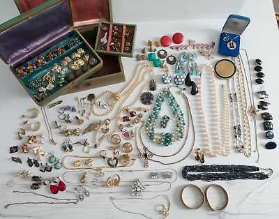 Vintage Estate Jewelry LOT Costume Jewelry Necklaces Earrings Antique Boxes
