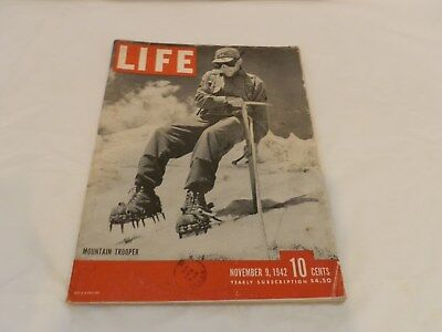 Nov. 9th 1942 Life magazine with 10th MTN Trooper on Cover