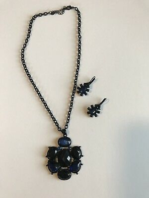 Necklace Blue Stone With Black Chain & Matchinh Pierced Earrings