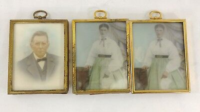 3 Antique 1/4 Plate Ambrotype of Older Gentleman & Young Woman Hand Colored