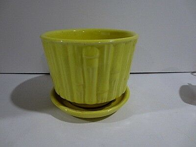 Vintage MCCOY USA Pottery 0373 Yellow Bamboo Planter Excellent