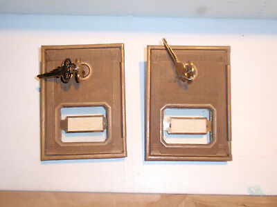 Two Vintage Post Office P.O. Door Mail Box Postal Antique-USPS