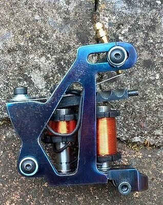 Border Tattoo Machine Soft-Shader Custom Orange Cog Coils Iron Blued Frame