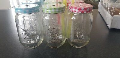 9X Clear Glass Mason Jam Jars Drinking Summer Cocktail Jar Lid & Straw 450Ml
