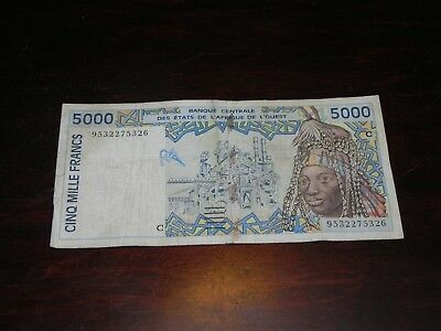Burkina Faso West African States 5,000 Franc Note 1995 P-313Cd Circ JCcug 18642