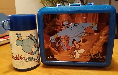Vintage Aladdin Blue Disney Aladdin Lunch Box with Thermos