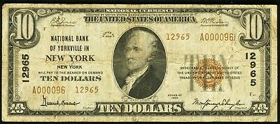 1929 $10 National Bank of Yorkville, New York, NY Ch. #12965  Serial No. A000096