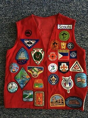 Red Men's Vest (Lg) with Assorted BSUSA Patches