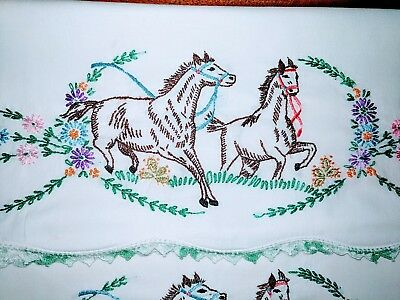 Vintage Pair Pillowcases Embroidered Crocheted scalloped edge HORSES