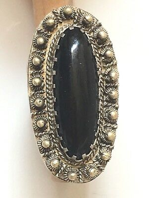 Vintage Handmade Etruscan Black Onyx Ring Adjustable, Unisex