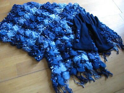 Scarf and gloves set ex NEXT in navy/royal blue