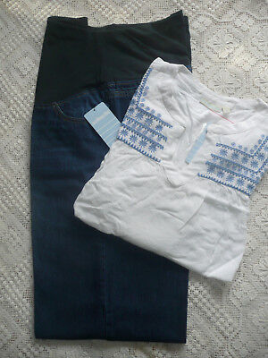 BNWT JoJo Maman Bebe Maternity Cropped Jeans+White Embroidered Blouse/ Size 18