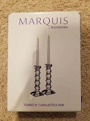 "Marquis by Waterford Torino candlestick 8"" pair New in box Crystal"