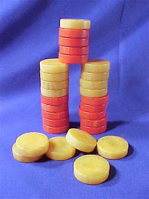 Vintage Red & Butterscotch Bakelite Backgammon Checkers 30 pieces game jewelry