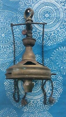 Antique Vtg Brass Gas ceiling Light Fixture Shade Fitter Bobeche