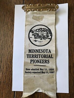 Vintage Minnesota MN Territorial Pioneers Convention Souvenir Silk Ribbon Button