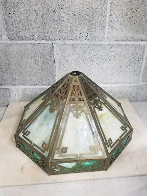 Vtg Stained Glass 8 Panel Table Lamp Shade Slag Glass Table Lamp Shade