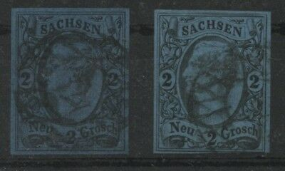 Germany German States Saxony Sachsen 1855 King John I 2 Neugroschen both Shades