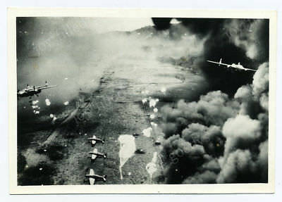 312th BOMB GROUP BOMBING JAPANESE AIRFIELD NEW GUINEA CENSORED WWII PHOTO