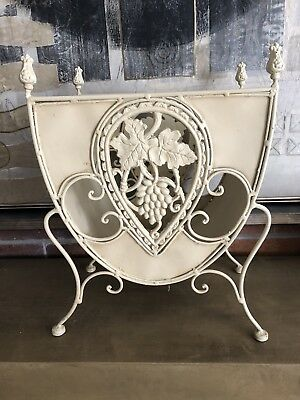 French Provincial Metal Magazine Rack Ornate for Books & Newspaper Heavy