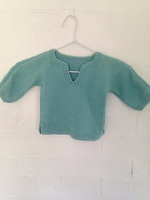 Jumper Handmade Tunisien Style- Teal  100% Cotton Long Sleeve Size 1- New