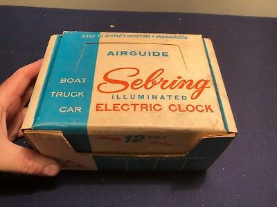 Vintage Airguide Sebring Illuminated Electric Clock Boat Car Truck  W/box Nos