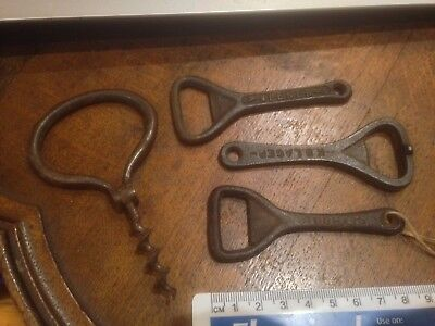 3 antique bottle openers and corkscrew 1920s era